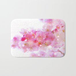 Japanese Sakura Tree with Pastel Pink Blossoms Bath Mat