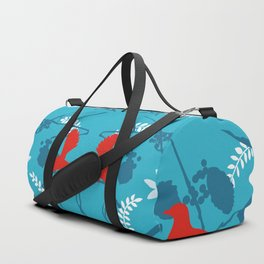 NZ Native Red Kereru (Wood Pigeon) and Fantail on Blue Duffle Bag