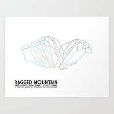 Ragged Mountain, NH - Minimalist Winter Trail Art Art Print