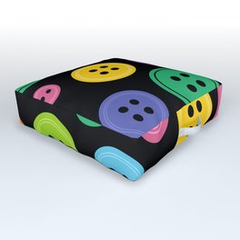 Colorful Rainbow Buttons Outdoor Floor Cushion