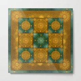"""Moroccan chess Celestial & Ocher Pattern"" Metal Print"