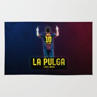 messi Area & Throw Rugs featuring Lionel Messi - La Pulga by Dugout Army