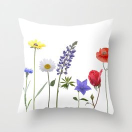 Flowers isolated on white background. Digital painting Throw Pillow
