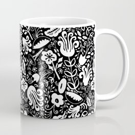 Funky Vintage Floral // Monochrome Black and White // Color Your Own Flower Garden Coffee Mug