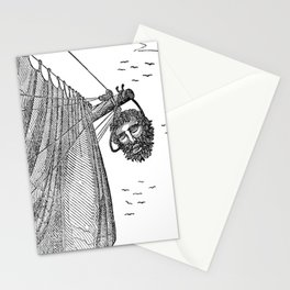 Blackbeard's Head Being hung from the Bow Stationery Cards