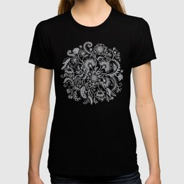 Jacobean Inspired Light on Dark Grey Floral Doodle T-shirt