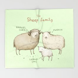 The Sheep Family Throw Blanket