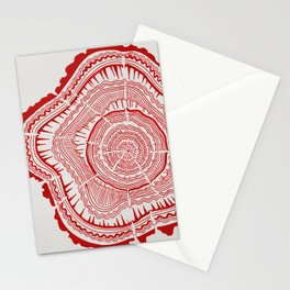 Red Tree Rings Stationery Cards