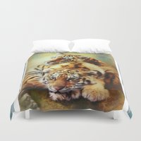 tigers Duvet Covers featuring Little Tigers by Trudi Simmonds