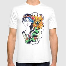 Cactus Eye Tattoo Style Mens Fitted Tee White SMALL