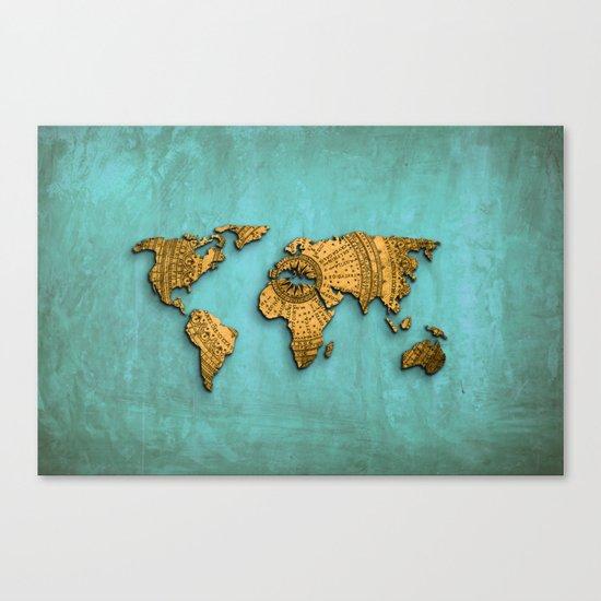 Vintage World Map on Jade Dragon Teal Canvas Print
