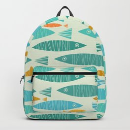 Shimmering Scandinavian Fish In Blue And Gold Pattern Backpack