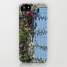 Blue door pink flowers - Provence, France iPhone Case