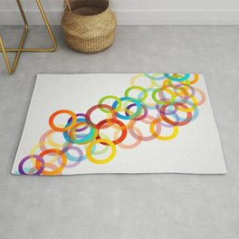 Abstract colorful rings Rug