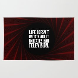"""Life doesn't imitate art... """"woody allen"""" Inspirational Quote Rug"""