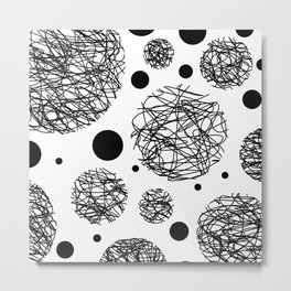 Scribbles - Black and white scribbles and black circles pattern on white Metal Print