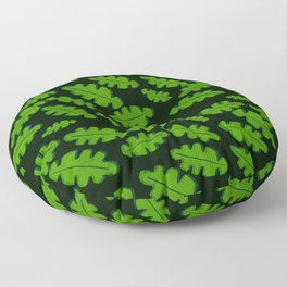 Green Off Set Cut Out Leaf on a Black Background Floor Pillow