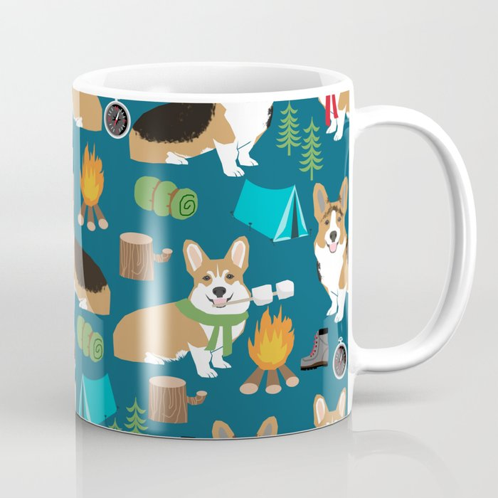 Corgi camping marshmallow roasting corgis outdoors nature dog lovers Coffee Mug