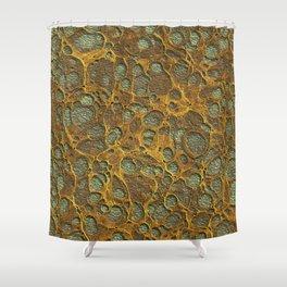 Dark Olive Green4 Gold Marble Shower Curtain