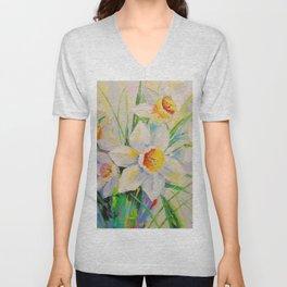 White daffodils Unisex V-Neck
