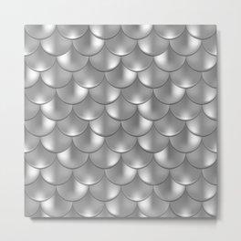 Shiny Silver Mermaid Pattern, Holographic Fish Scale Print Metal Print