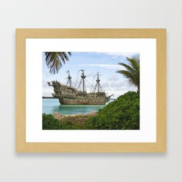 Pirate ship in the Caribbean Framed Art Print