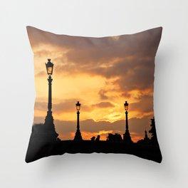 A sunset in Paris Throw Pillow