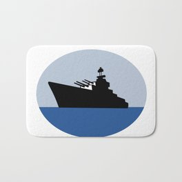 World War Two Battleship Destroyer Oval Retro Bath Mat