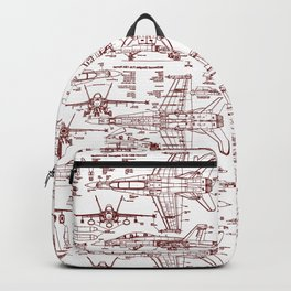 F-18 Blueprints // Red Ink Backpack