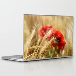 Field of golden wheat with red poppy flowers Laptop & iPad Skin