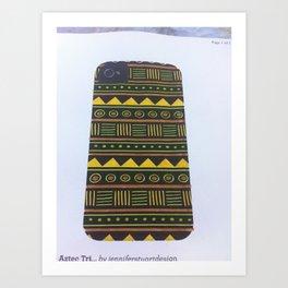 aztec design yellow Art Print