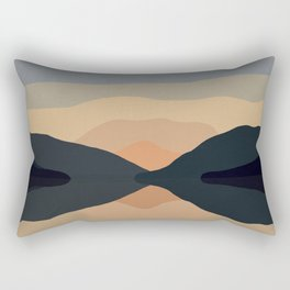 Sunset Mountain Reflection in Water Rectangular Pillow