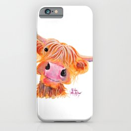 Highland Cow Print, Animal Print ' NESSIE ' by Shirley MacArthur iPhone Case