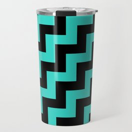 Black and Turquoise Steps RTL Travel Mug