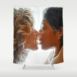 9705  Two Woman Kissing Sensual Erotic Fractal Art by Chris Maher Shower Curtain