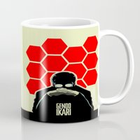 evangelion Mugs featuring Gendo Ikari from Evangelion. Super Dad. by Barrett Biggers