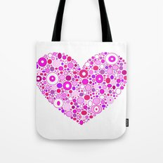 Retro Pink Heart Tote Bag