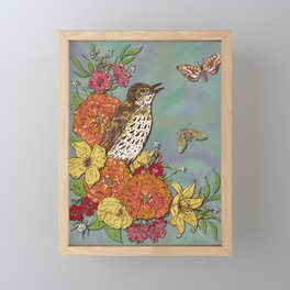 Vintage Songthrush Framed Mini Art Print