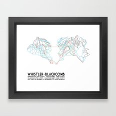 Whistler Blackcomb, BC, Canada - Minimalist Trail Map Framed Art Print