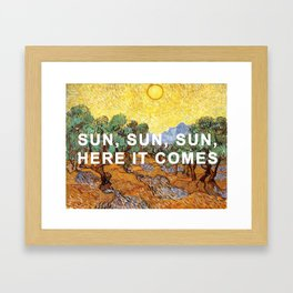 Here Comes the Yellow Sky and Sun Framed Art Print