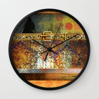western Wall Clocks featuring GOLDEN WESTERN by INA FineArt