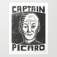 picard Art Prints featuring Captain Picard by Peter Dunne