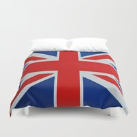 union jack Duvet Covers featuring Union Jack by MICHELLE MURPHY