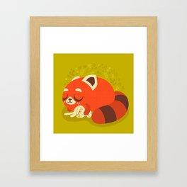 Sleeping Red Panda and Bunny / Cute Animals Framed Art Print