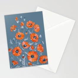 Red poppies in grey Stationery Cards