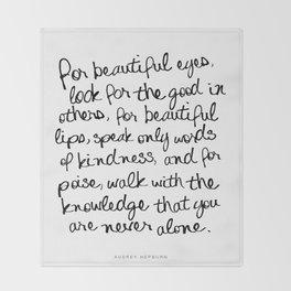 Audrey Hepburn Quote Throw Blanket