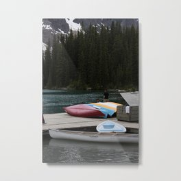 Moraine Lake kayaks Metal Print
