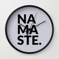 namaste Wall Clocks featuring namaste by Amanda Nicole