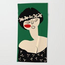 Girl with flower crown Beach Towel