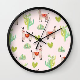 Cute alpacas with pink background Wall Clock